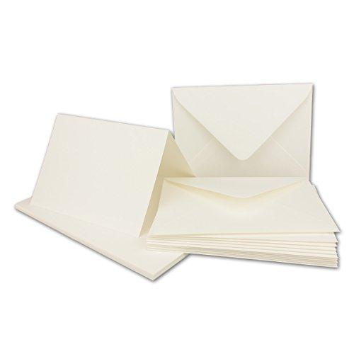 Faltkarten Set mit Brief-Umschlägen DIN A6 / C6 in Naturweiß | 25 Sets | 14,8 x 10,5 cm | Premium Qualität | Serie FarbenFroh® - Faltkarte