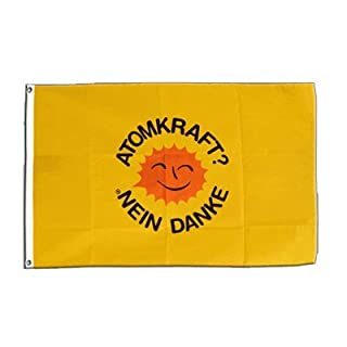 Fahne Flagge Atomkraft Nein Danke Gelb LIZENSIERTER ARTIKEL 90x150 cm