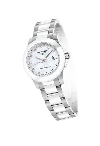 Longines Conquest White Dial White Ceramic Ladies Watch L32574877