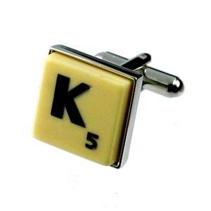 English Gems boutons de manchette Lettre K x2 avec étui Noir