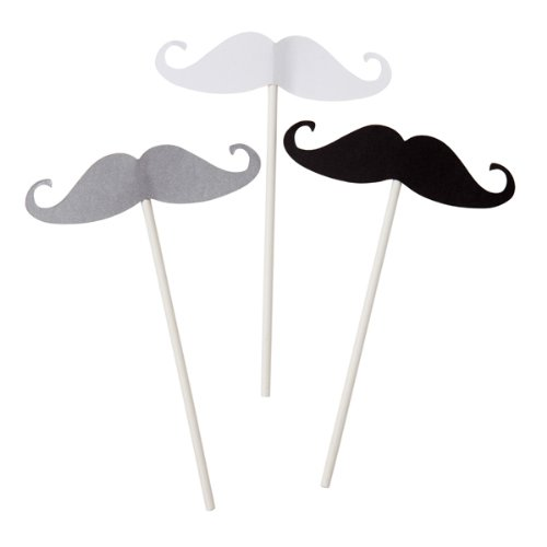Moustache Sticks, 12 St. - Stab mit französischem Bart als witziges Fotoaccessoire (Moustache Fancy Dress)