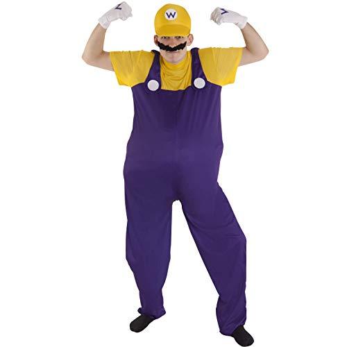 (Morph Herren Wario Kostüm Gelb Klempner Karneval, Halloween oder Parteien Kleidung - Groß (42-44 Zoll / 107-112 cm Brust))