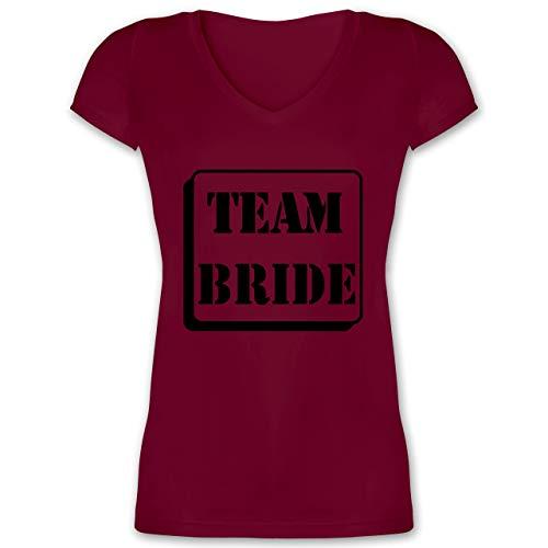 JGA Junggesellinnenabschied - Team Bride rosa - XL - Bordeauxrot - XO1525 - Damen T-Shirt mit V-Ausschnitt (Frauen Tron Kostüm)