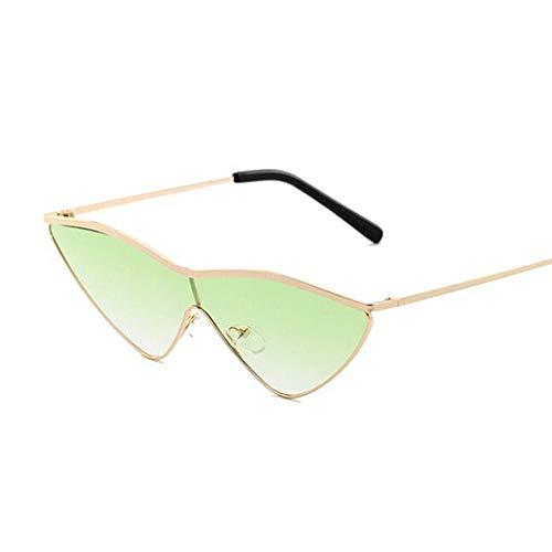 QDE Sonnenbrillen Vintage Rote Sonnenbrille Frauen Großen Rahmen Legierung Sonnenbrille Weibliche Reflektierende Spiegel Uv400 Gläser, Doppel Grün