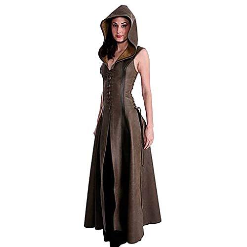 AmyGline Damen Kleid Leistung Cosplay Kostüm Vintage Kleid V Ausschnitt Leder Maxikleid Mit Kapuze Lederkleid Windbreaker Strickjacke Kleid (Mode Und Kostüm Für Leistung)