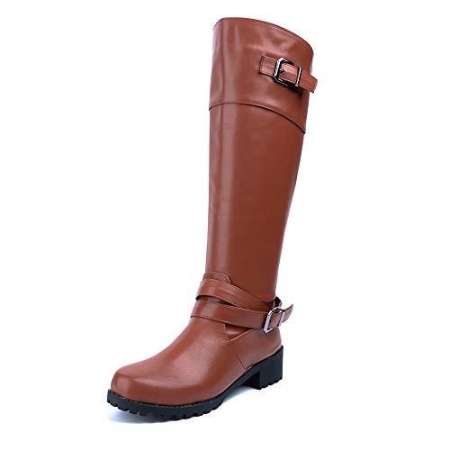 Botas Altas Mujer Botines Largas Invierno Botas Knee High Boots Rodilla Tacon Bajo Cremallera Hebilla Boots Cómodos Casual Marrón Claro EU 36