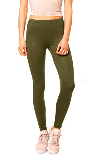 Easy Young Fashion Damen Basic Viscose Jersey Leggings Leggins Lang Uni Einfarbig One Size Khaki