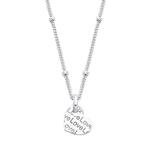 """s.Oliver so Pure Damen-Halskette aus glänzendem 925er Sterling-Silber mit Herz-Anhänger, Aufschrift \""""Love\"""""""
