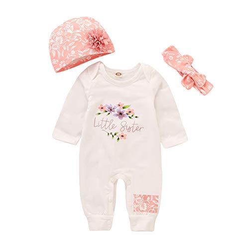 Baby Mädchen kleine Schwester Overall Overall Body und Hut Stirnband 3 Stück - Drei Schwestern Kostüm