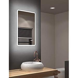 LED Badspiegel Talos Sun 45 x 70 cm – Lichtumrahmung – Lichtfarbe 4200K – Digitaluhr – Modernes Design