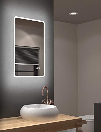 LED Badspiegel Talos Sun 45 x 70 cm - Lichtumrahmung - Lichtfarbe 4200K - Digitaluhr - Modernes Design