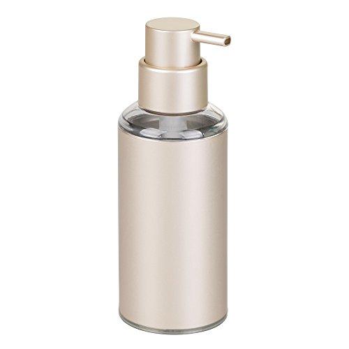 Interdesign 51448EU Distributeur de Savon à Pompe Rond en Aluminium Metro pour Meuble de Cuisine et de Salle de bains Champagne / Transparent Aluminium 6,9x0,254x19,7 cm