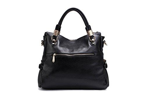 Aidoer donna classica in pelle borsa messenger bag, BLACK (marrone) - BB-179 BLACK