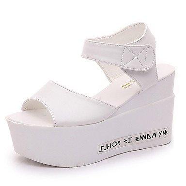 LFNLYX Donna Primavera tacchi Comfort PU Casual Stiletto Heel giunto di separazione a piedi neri White