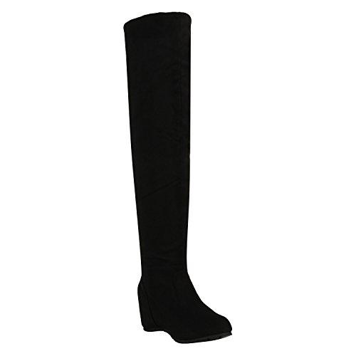 Damen Schuhe Stiefel Keilabsatz Overknees Veloursoptik Boots 151928 Schwarz Samtoptik 40 Flandell