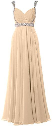 MACloth Elegant Straps V Neck Chiffon Long Prom Dress 2018 Evening Formal Gown Champagne