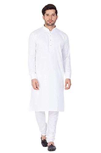 STC Men's Cotton Plain Kurta Pyjama (White , 42)
