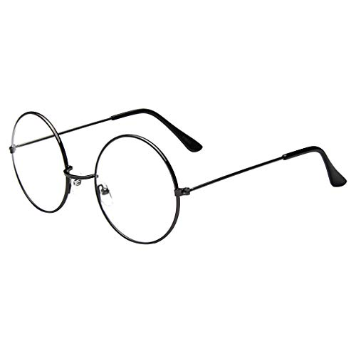 fazry Damen Mode Runde Klare Linse Brille Vintage Style Nerd Metall Rahmen Sonnenbrille Brillen(Grau)