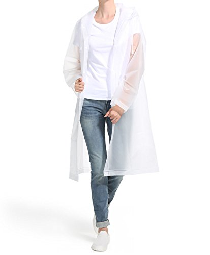 iLoveCos Adult Unisex Transparent Raincoat Waterproof Rain Ponchos with Hoods and Pockets Reusable Durable for Outdoor Travel