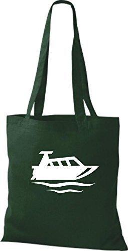 JUTA Tote Bag BARCA MOTORE, YACHT, barca, CAPITANO Verde