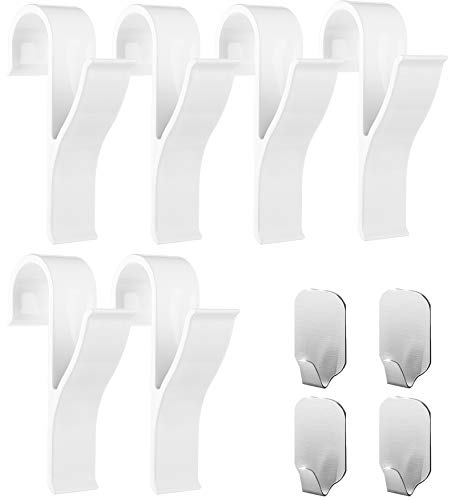 Ganchos para toallero (pack de 10) - 6 piezas de ganchos de plástico ABS para toalleros con radiador, 4 piezas de ganchos para toallas adhesivos - Mantén tu toallero en orden, Handy Picks