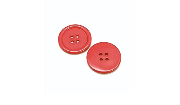 - Charming Beads HA10720 4 Trou Paquet 20 x Rouge R/ésine 20mm Boutons Rond -