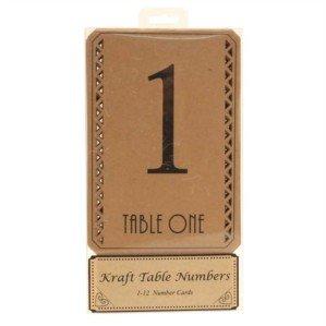 BEIGE KRAFT TABLE CENTRE NUMBERS 1-12 Per Pack - Wedding