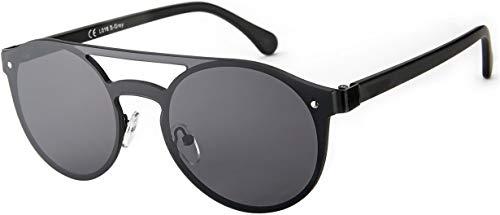 La Optica B.L.M. UV400 CAT 3 Unisex Damen Herren Sonnenbrille Pilotenbrille Rund Monoglas - Metal Schwarz (Gläser: Grau)