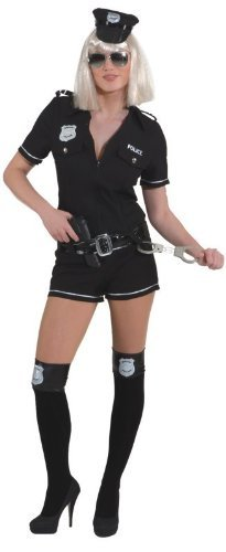 Police Girl,schwarz Overall,Gürtel Kostüm , Größe:40
