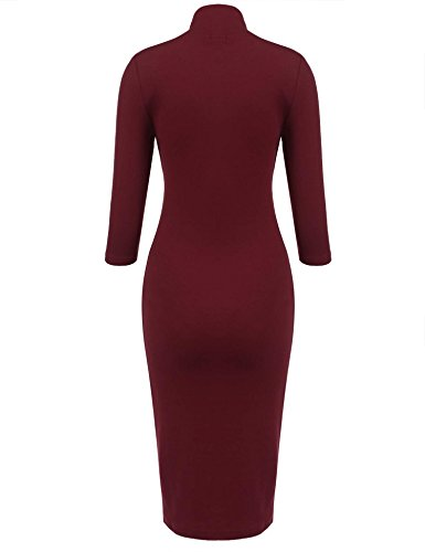 Zearo Frauen Knielang Partykleid Freizeitkleid hochgeschlossen Mode-Paket-Hüfte 3/4 Ärmel Solid color Bodycon Abendkleid Bleistift Kleid Weinrot