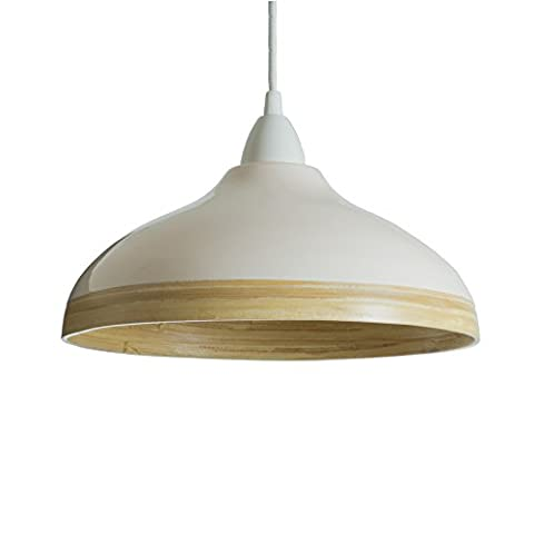 Natural bamboo pendant ceiling lampshade with gloss lacquer exterior (cream, large)