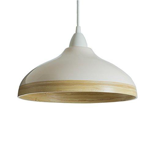 Nature Holds the Key – Pantalla para Lámpara Colgante de Techo de Bambú Natural con Barniz Brillante Exterior (Conexiones Eléctricas No Incluidas) – Blanca, 30 Centímetros