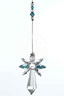 New Design Large Swarovski Hanging Crystal Birthstone Guardian Angel Suncatcher Rainbow Maker Ideal Christening/Birthday Gift DECEMBER - BLUE ZIRCON