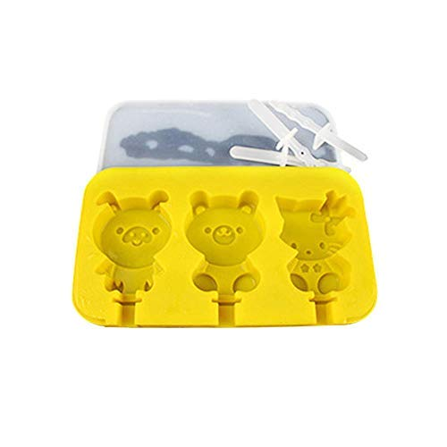 men Set Mit Deckel BPA FREI Silikon 3 Hohlräume Cartoon Kreative Nette Hausgemachte Sorbet Werkzeuge Für Kinder ()