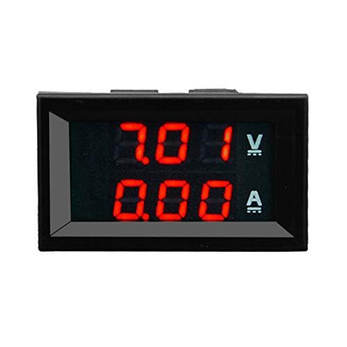 Elviray Misuratore voltmetro Digitale CC 100V 10A Amperometro + Display Bicolore Rosso LED Amplificatore LED Digitale Doppio Volt Misuratore 2 in1