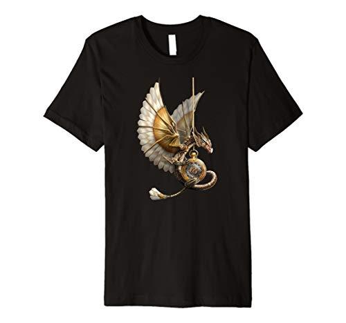Steampunk-Drache auf Uhrgeschenk-Vintages T-Shirt - Drachen-grafik-t-shirts