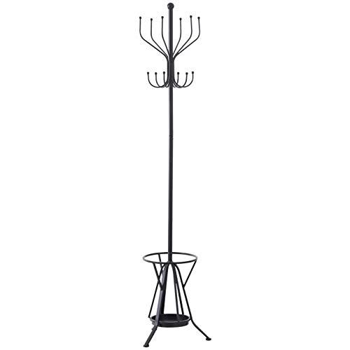 HOMCOM Garderobenständer Kleiderständer mit Schirmständer 12 Haken 6 Schirme Metall Schwarz 34,5 x 34,5 x 180 cm