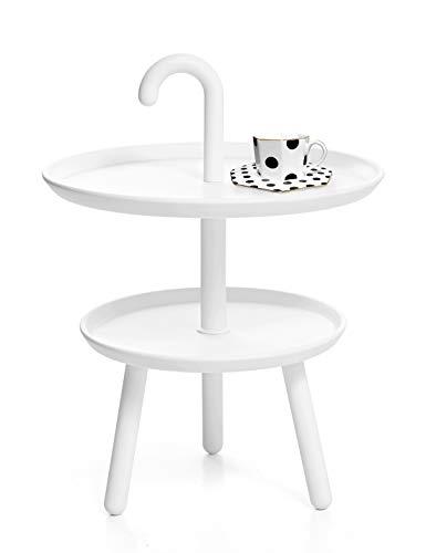 n Tisch Rund Gartentisch Kunststoff Kleiner Beistelltisch Runder Tische Outdoor Bistrotisch Mini Sofatisch Kaffeetisch Modern Dekotisch Für Wohnzimmer Balkon Und Terrasse Weiß ()