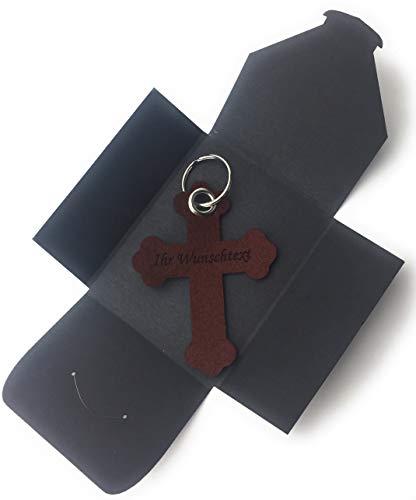 filzschneider Schlüsselanhänger aus Filz - Kreuz Barock - in dunkel-braun - mit Namensgravur