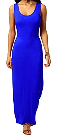 Womens Ladies Summer Long Plain Racer sans manches à encolure dégagée Muscle Retour Jersey Maxi Dress Plus Size Débardeur XL XXL XXXL 36 38 40 42 44 46 48 50 52 54