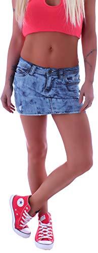 Damen Jeans Minirock Rock Hellblau Tiefsitzend Mini Jeansrock S 36 M 38 L 40 gr größe Size blau röcke Sommer jeansröcke kurz damenröcke sexy gogo jeansmini Damenrock Low Waist Rise Denim eng Kurze