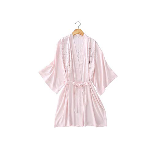 Women Sleepwear Sexy Print Star Mini Home Gowns Loose Satin Kimono Bathrobe Wedding Robes Casual Nightgown Lounge,Light Pink,XL (Woven Shorts Jordan)