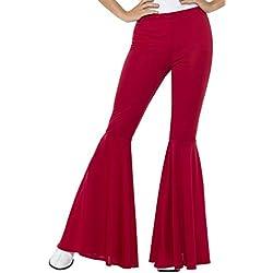 Smiffy'S 21472Sm Pantalones Acampanados Para Mujer, Rojo, S A M - Eu Tamaño 36-42