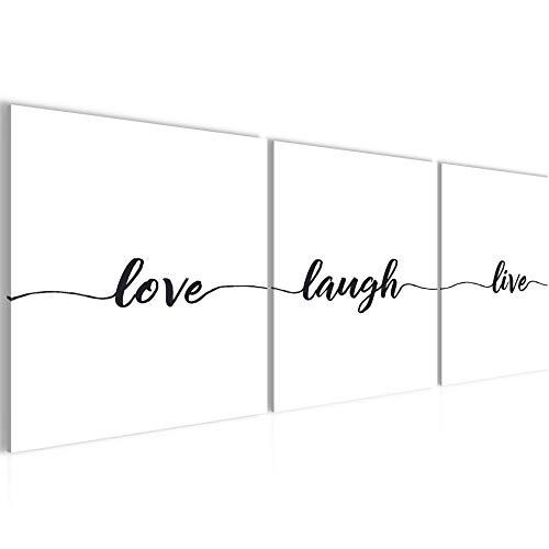 Spruch Live Love Laugh Bild bequem Aufhängefertig - 120 x 40 cm Bilder - Vlies Leinwand - Deko für Wohnzimmer -Kunstdruck,Wandbild - XXL 3 Teile Teile - leichtes Aufhängen- 807433a