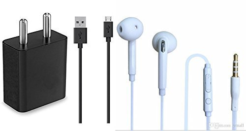 Vell- Tech Sony Xperia Aqua M4 Compatible Combo of Wired Headphone/Earphone with Charger and Data Cable for All Smartphones