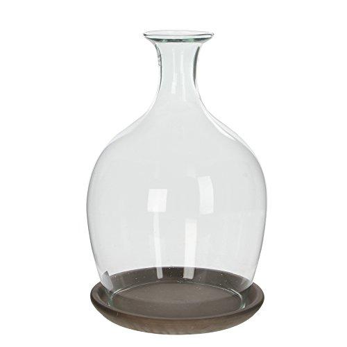 MICA Decorations 146857Monaco Campana de cristal (con plato, cristal, transparente, 23x 23x 34,5cm
