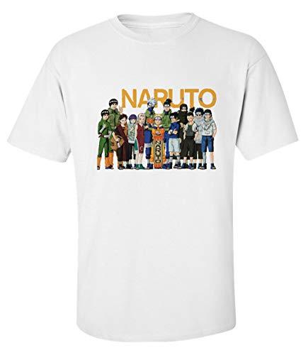 Herren Naruto Alle Charaktere Kunst T-Shirt Weiß M