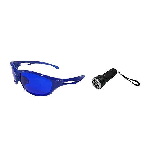 POSMA SGG080C Golfball-Finderbrille und 21 LEDs, Golfball-Finder, Taschenlampe, UV-Taschenlampe, Geschenkset für Tag und Nacht, Ball Hunter Retriever