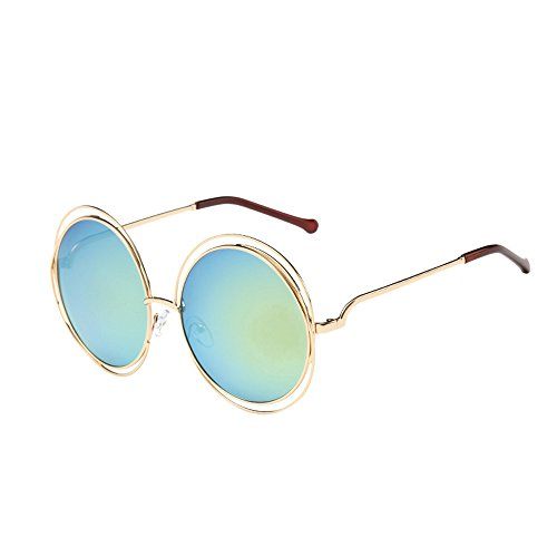 Whycat Cateye Sonnenbrille Damen Steampunk Sunglasses For Unisex,Round Retro Gothic Metal Frame Flip Up Lens Glasses Street Fashion(K)