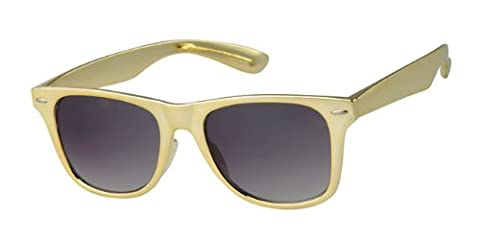 Gold Frame Wayfarer Sunglasses, With Free Yellow Neck Cord, Full UV 400 Protection
